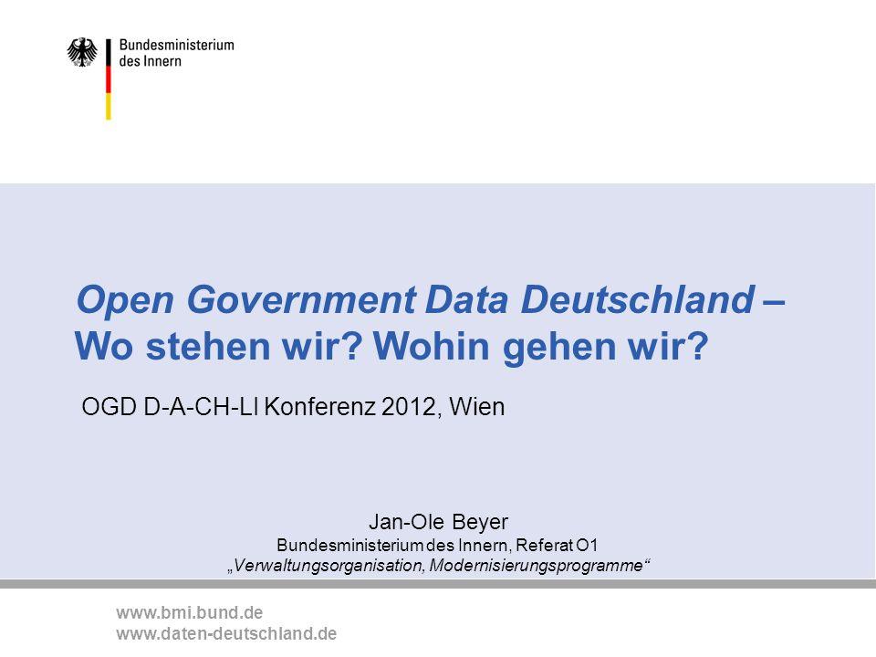 Open Government Data Deutschland – Wo stehen wir Wohin gehen wir
