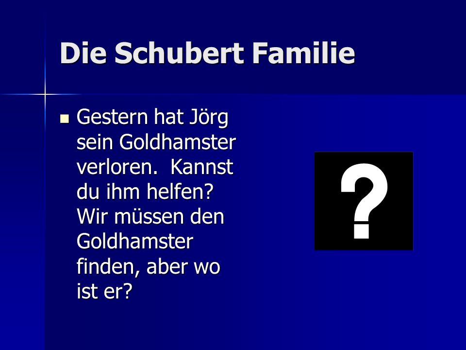 Die Schubert Familie Gestern hat Jörg sein Goldhamster verloren.