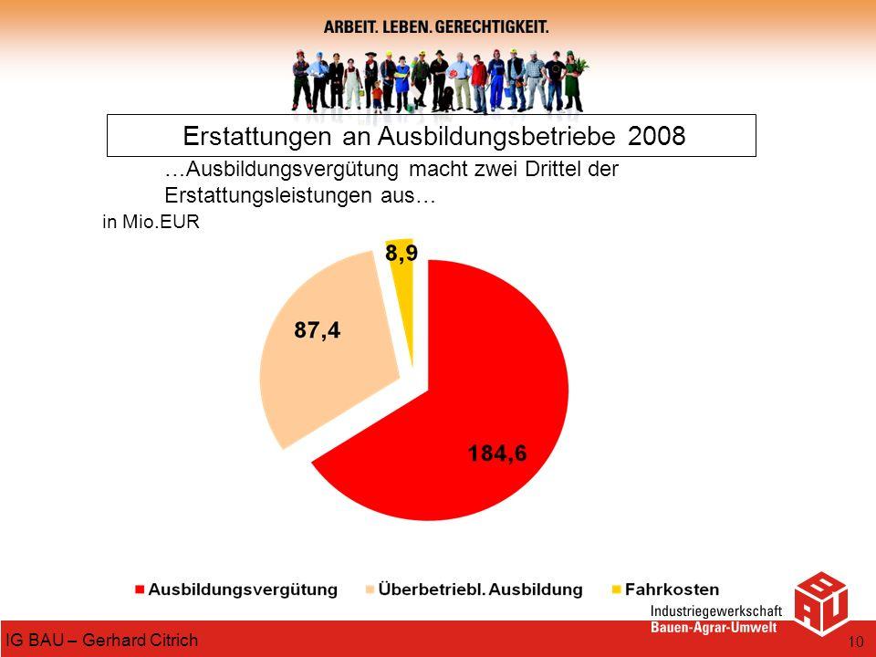 Erstattungen an Ausbildungsbetriebe 2008