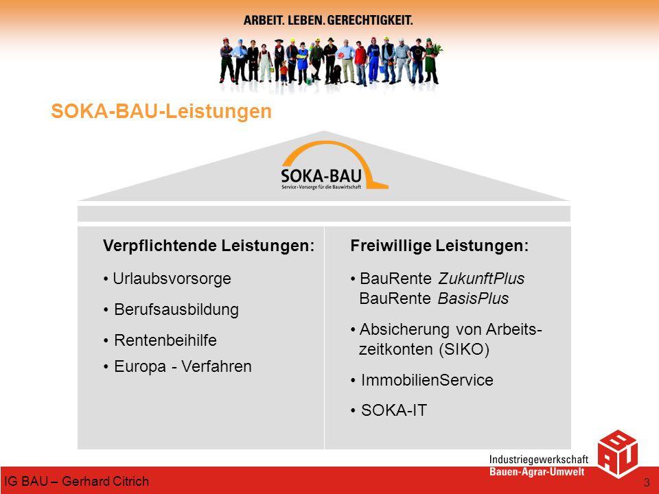 SOKA-BAU-Leistungen Verpflichtende Leistungen: Berufsausbildung
