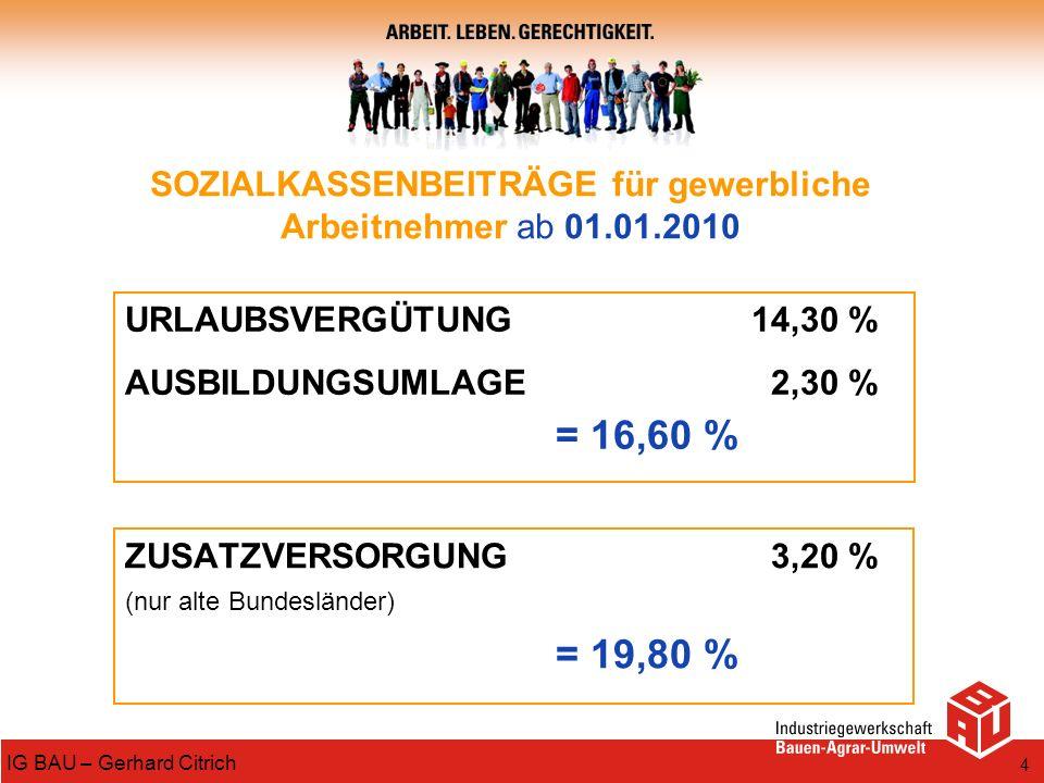SOZIALKASSENBEITRÄGE für gewerbliche Arbeitnehmer ab 01.01.2010