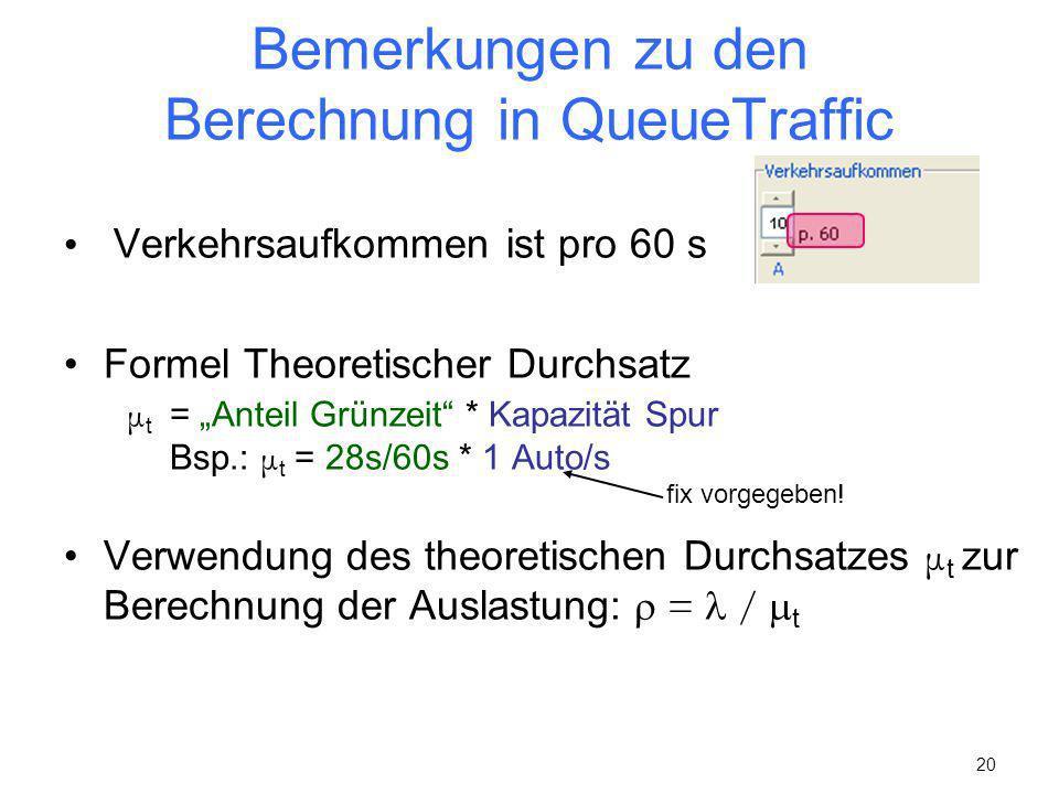 Bemerkungen zu den Berechnung in QueueTraffic