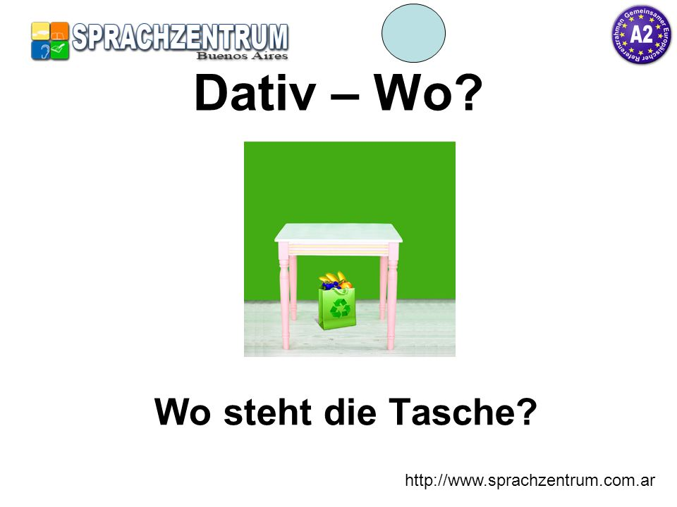 Dativ – Wo Wo steht die Tasche http://www.sprachzentrum.com.ar