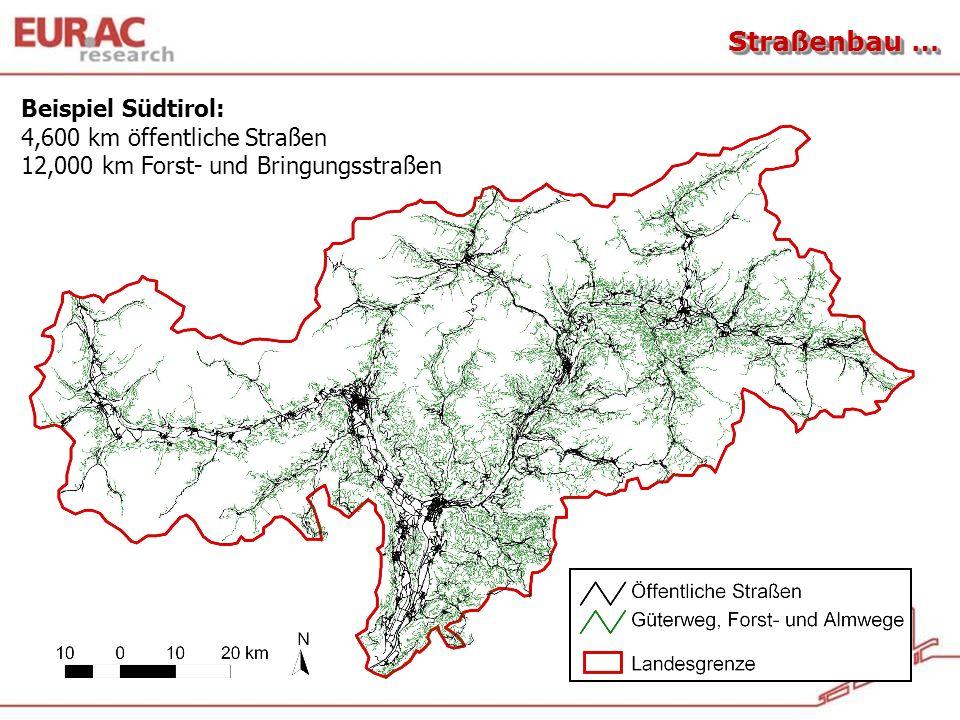 Straßenbau … Beispiel Südtirol: 4,600 km öffentliche Straßen