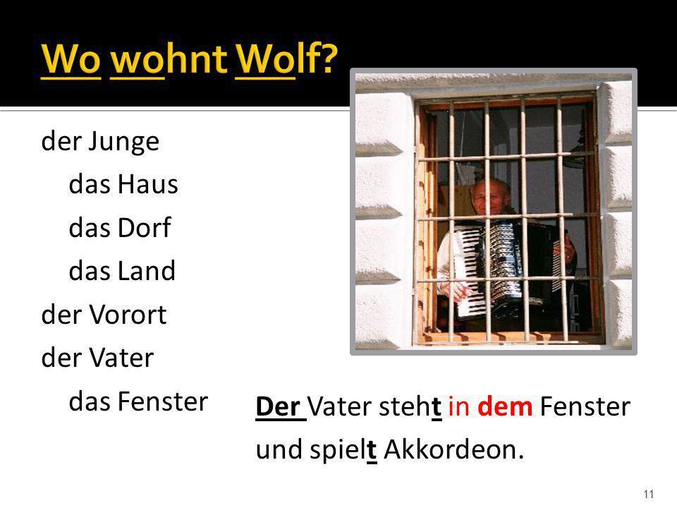 Wo wohnt Wolf der Junge das Haus das Dorf das Land der Vorort