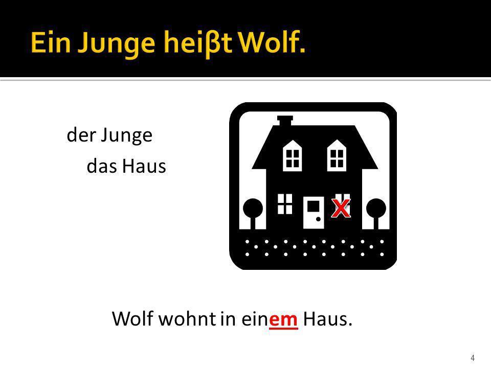 Ein Junge heiβt Wolf. der Junge das Haus x Wolf wohnt in einem Haus.