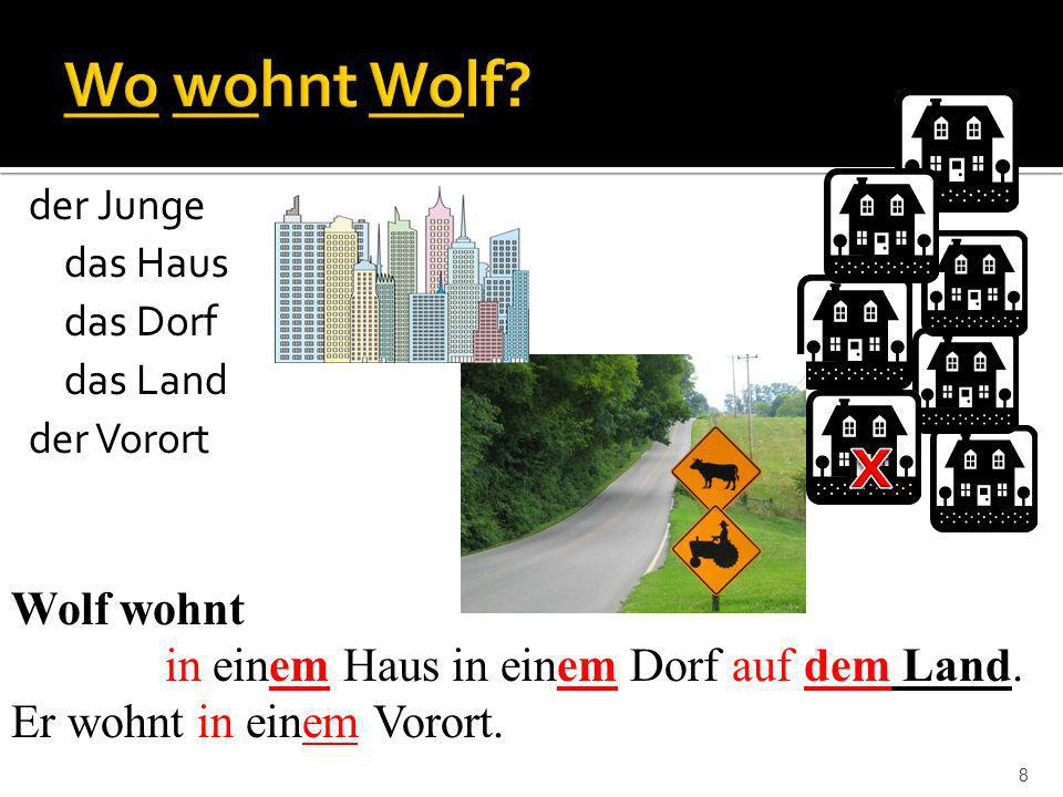 x Wo wohnt Wolf Wolf wohnt in einem Haus in einem Dorf auf dem Land.