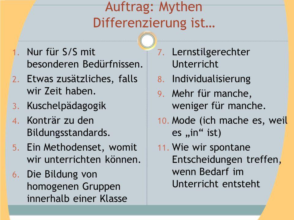 Auftrag: Mythen Differenzierung ist…