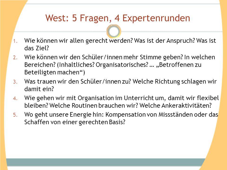 West: 5 Fragen, 4 Expertenrunden