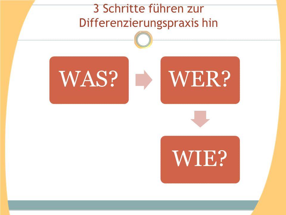3 Schritte führen zur Differenzierungspraxis hin