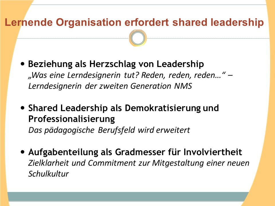 Lernende Organisation erfordert shared leadership