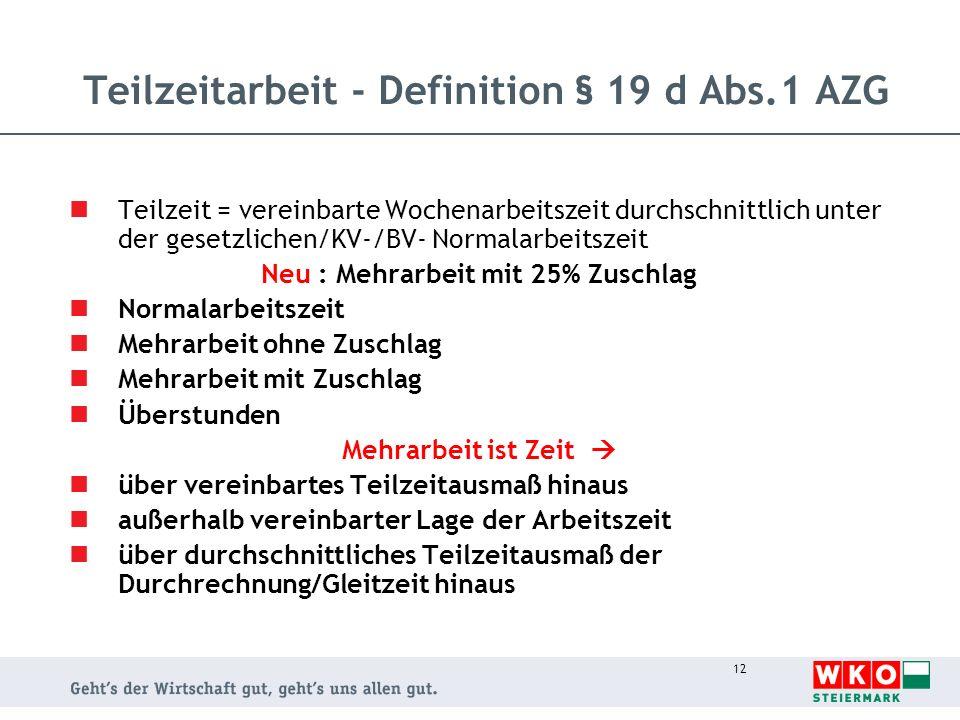 Teilzeitarbeit - Definition § 19 d Abs.1 AZG