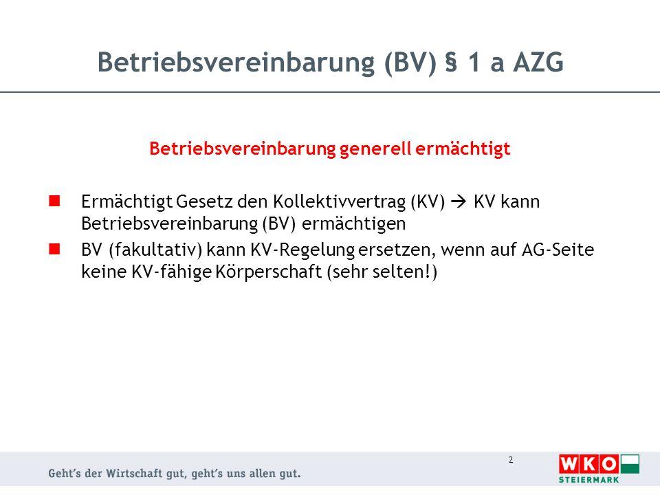 Betriebsvereinbarung (BV) § 1 a AZG
