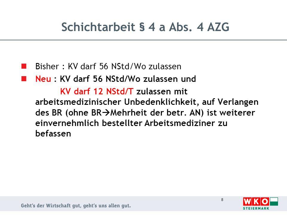 Schichtarbeit § 4 a Abs. 4 AZG