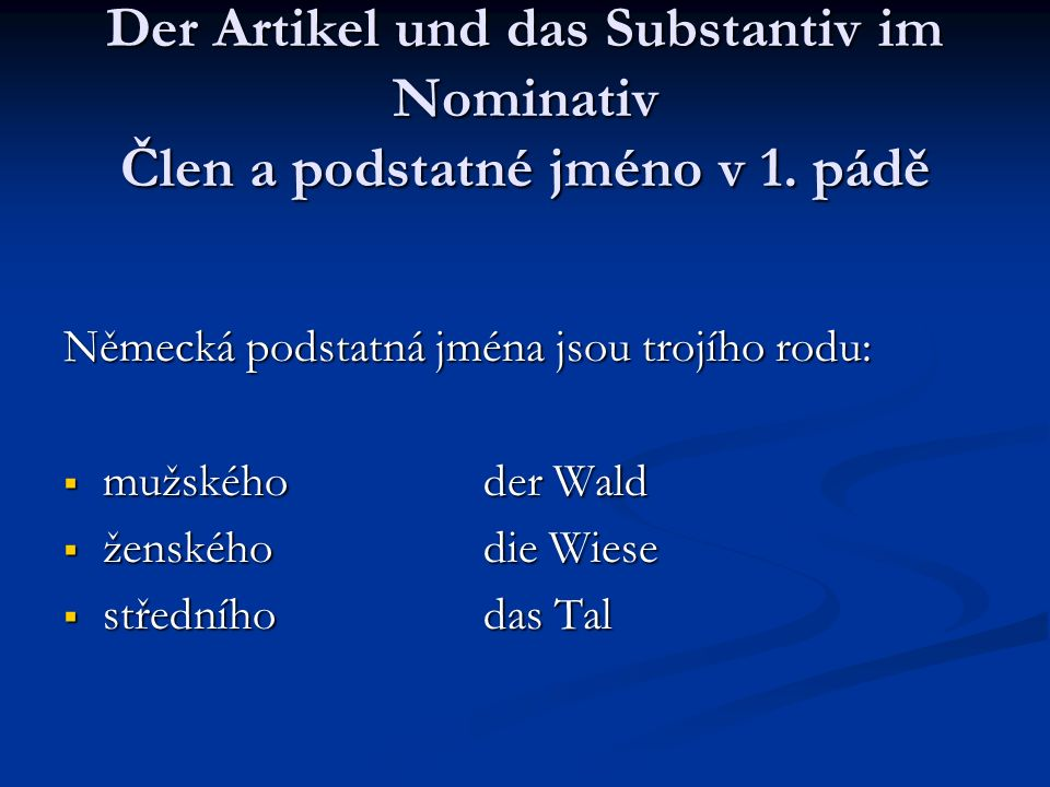 Der Artikel und das Substantiv im Nominativ Člen a podstatné jméno v 1