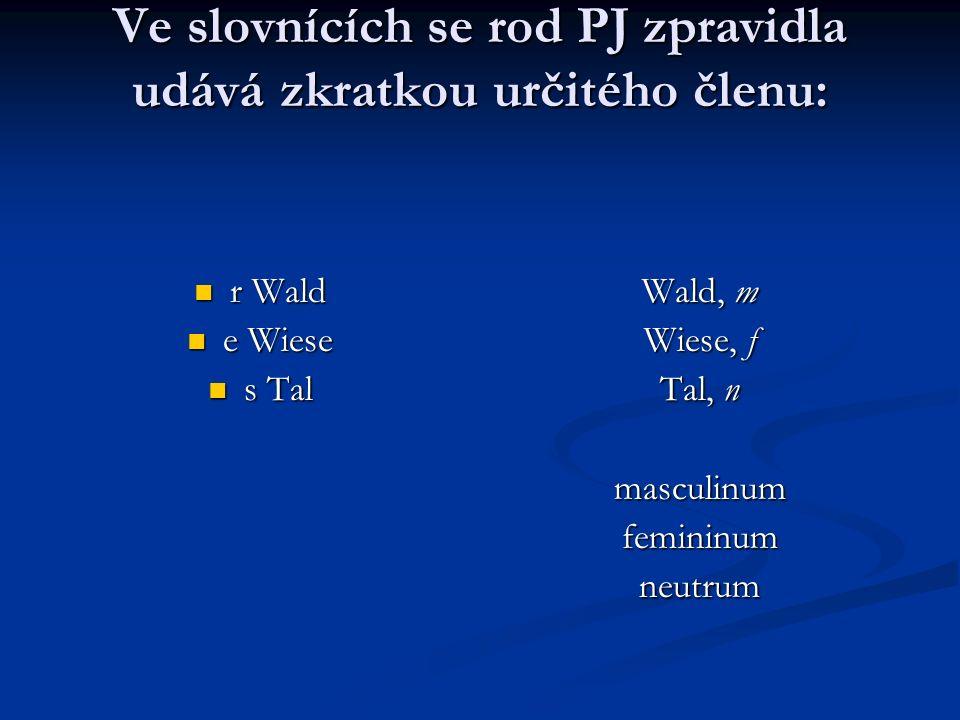 Ve slovnících se rod PJ zpravidla udává zkratkou určitého členu: