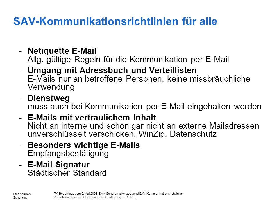 SAV-Kommunikationsrichtlinien für alle