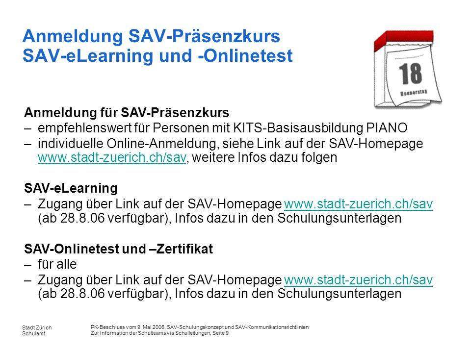 Anmeldung SAV-Präsenzkurs SAV-eLearning und -Onlinetest