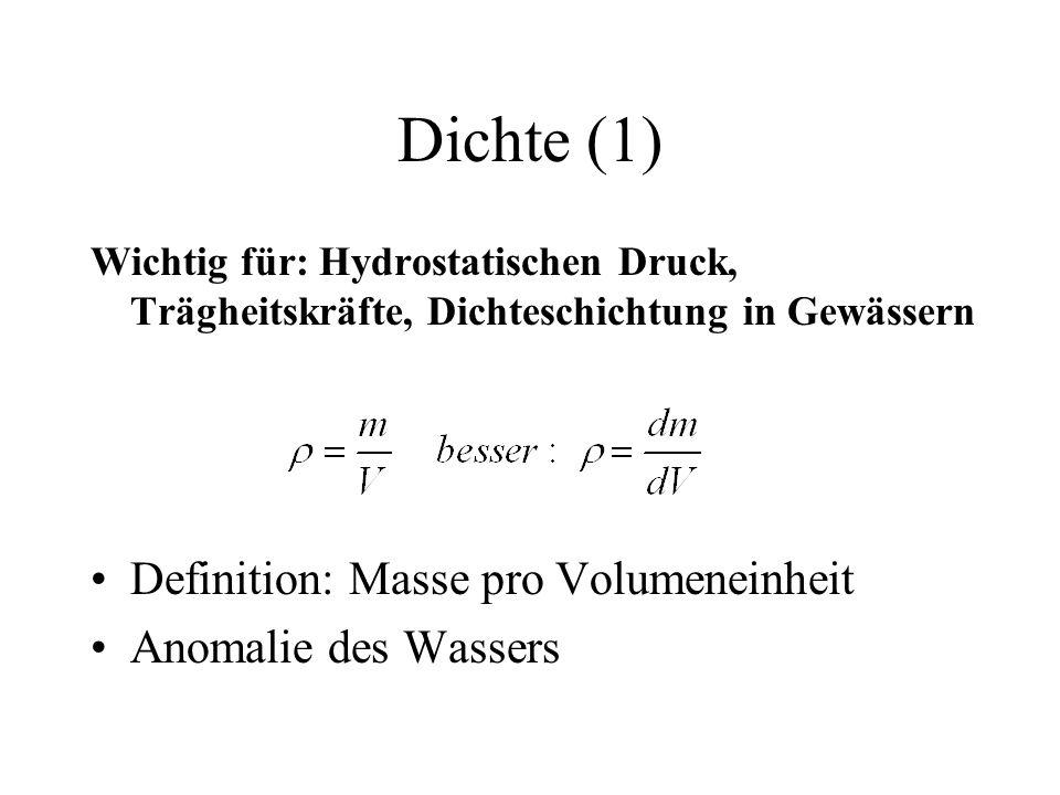 Dichte (1) Definition: Masse pro Volumeneinheit Anomalie des Wassers