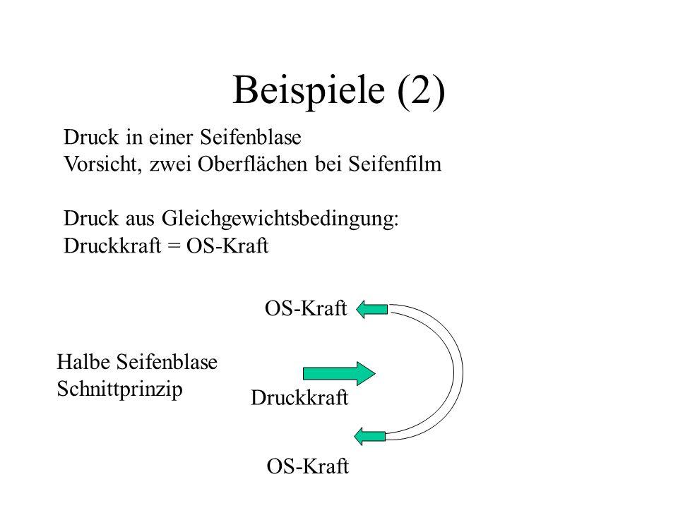 Beispiele (2) Druck in einer Seifenblase