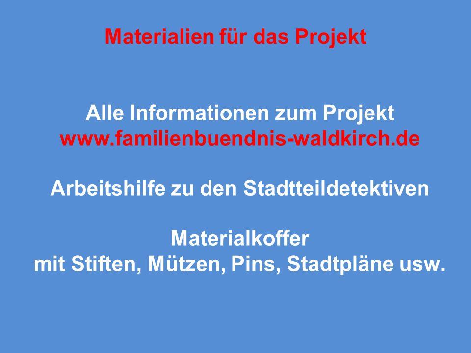 Materialien für das Projekt