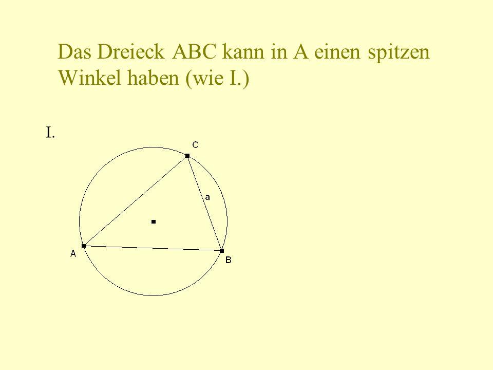 Das Dreieck ABC kann in A einen spitzen Winkel haben (wie I.)