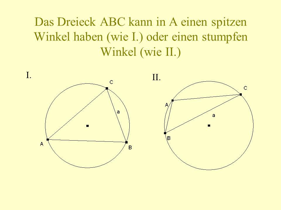 Das Dreieck ABC kann in A einen spitzen Winkel haben (wie I