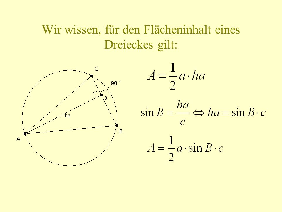 Wir wissen, für den Flächeninhalt eines Dreieckes gilt: