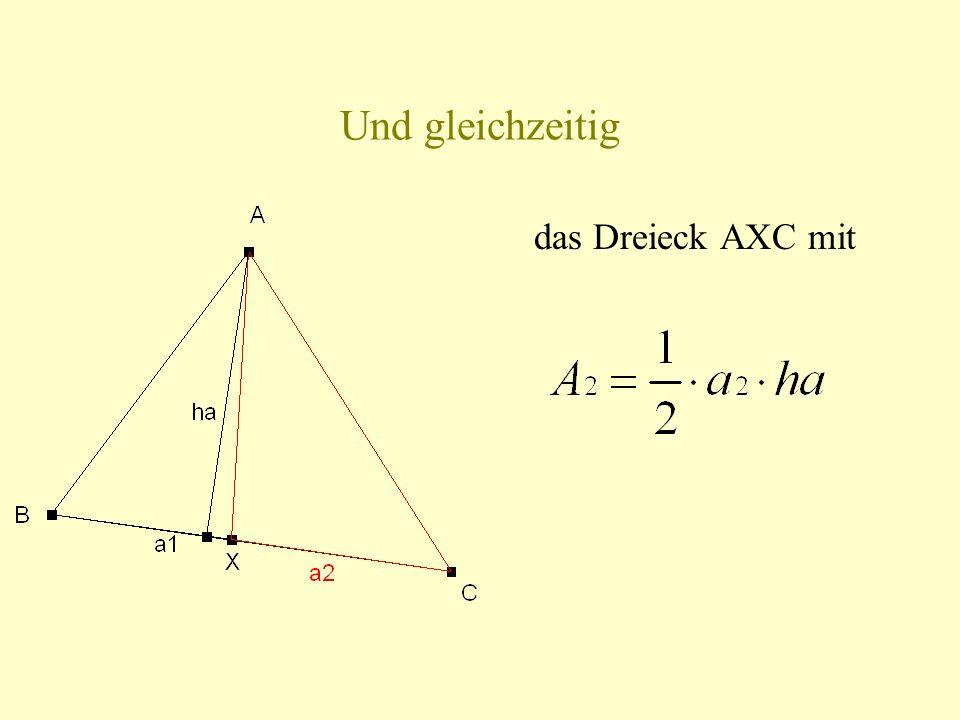 Und gleichzeitig das Dreieck AXC mit