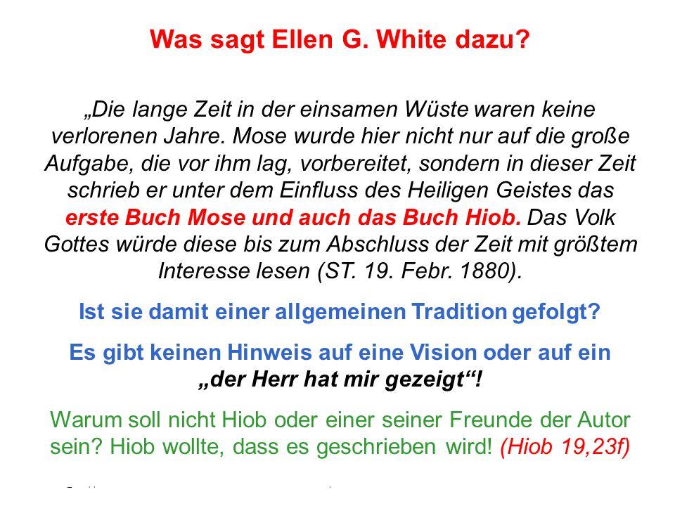 Was sagt Ellen G. White dazu