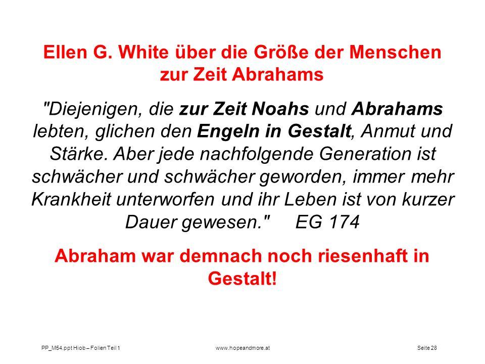 Ellen G. White über die Größe der Menschen zur Zeit Abrahams