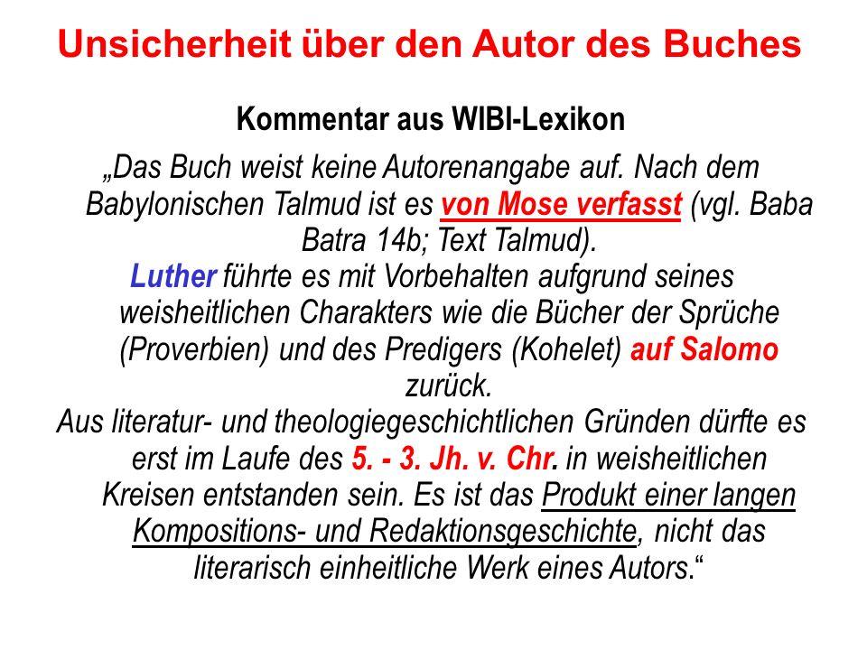 Unsicherheit über den Autor des Buches Kommentar aus WIBI-Lexikon