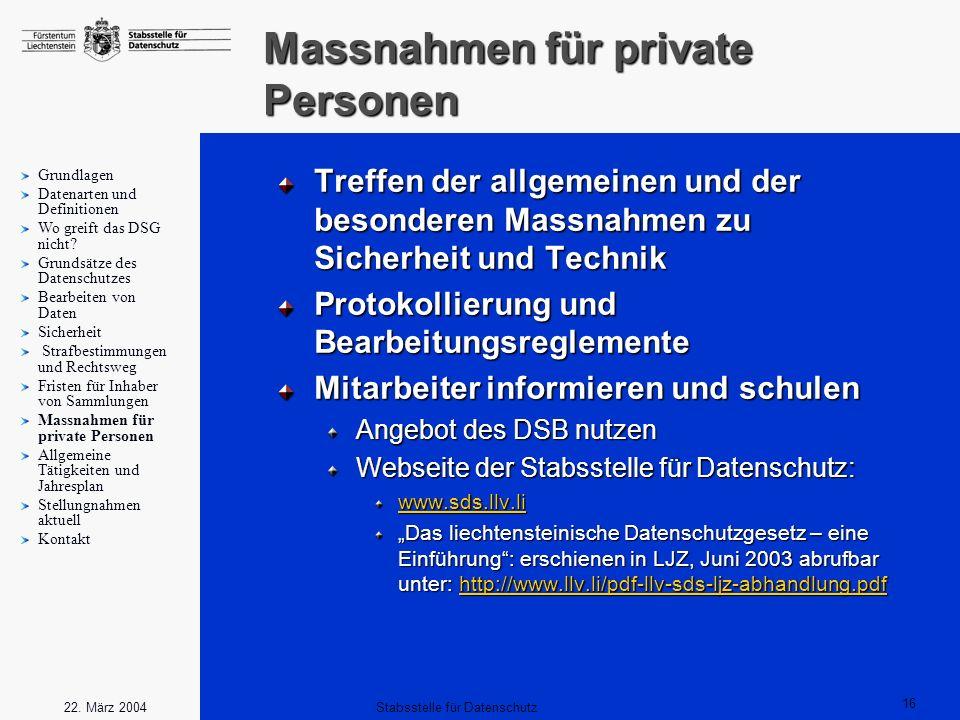 Massnahmen für private Personen