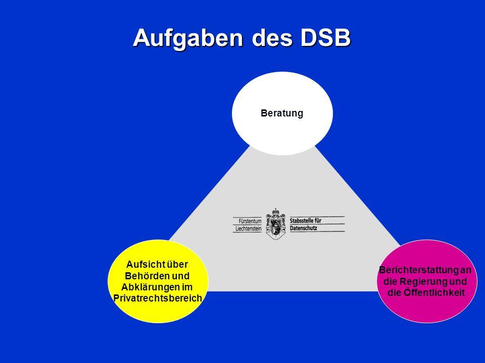 Aufgaben des DSB Beratung Aufsicht über Berichterstattung an