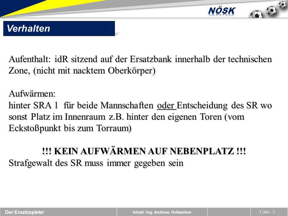 !!! KEIN AUFWÄRMEN AUF NEBENPLATZ !!!