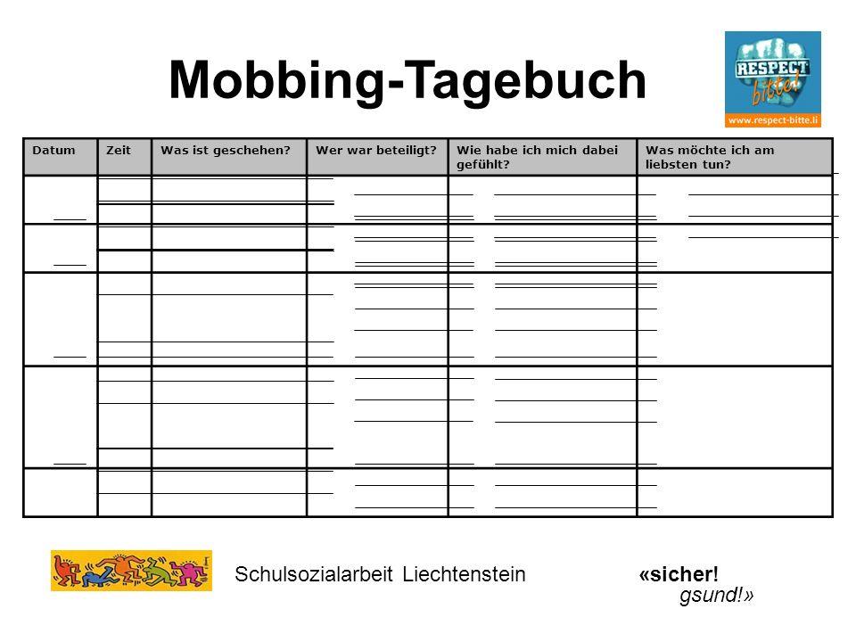 Mobbing-Tagebuch Schulsozialarbeit Liechtenstein «sicher! gsund!»