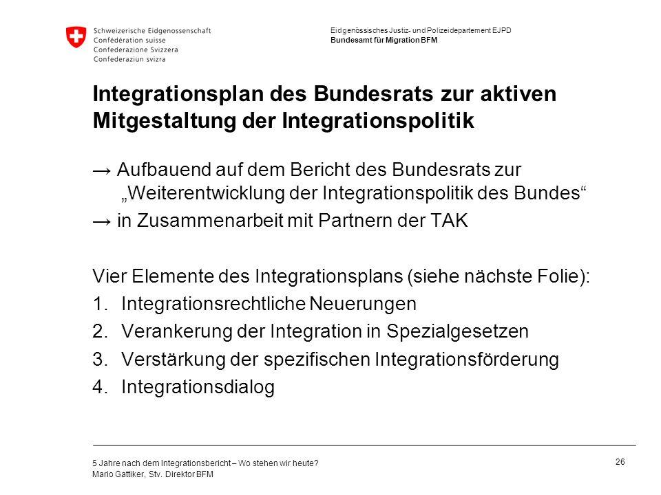 Integrationsplan des Bundesrats zur aktiven Mitgestaltung der Integrationspolitik