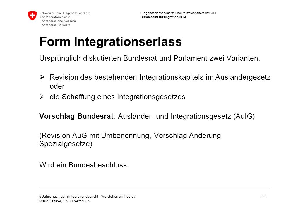 Form Integrationserlass