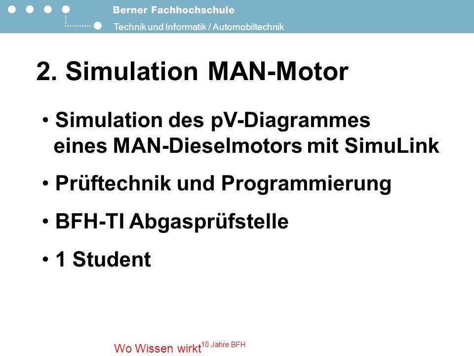 2. Simulation MAN-Motor Simulation des pV-Diagrammes eines MAN-Dieselmotors mit SimuLink. Prüftechnik und Programmierung.