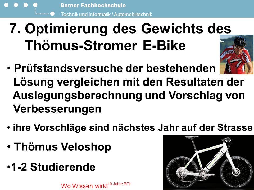 7. Optimierung des Gewichts des Thömus-Stromer E-Bike