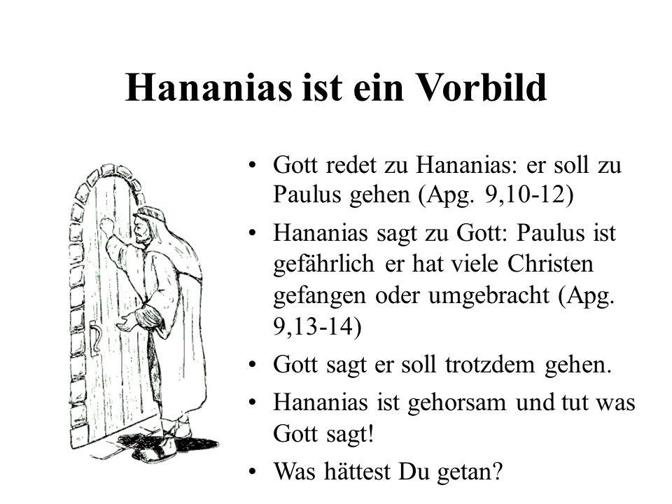 Hananias ist ein Vorbild
