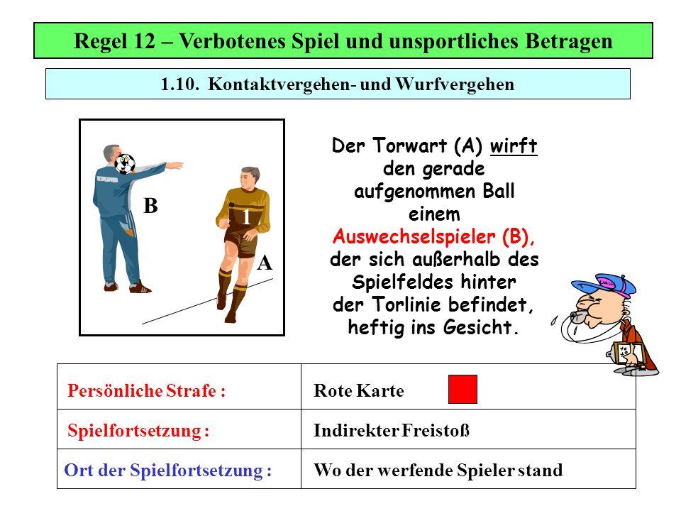 Regel 12 – Verbotenes Spiel und unsportliches Betragen 1
