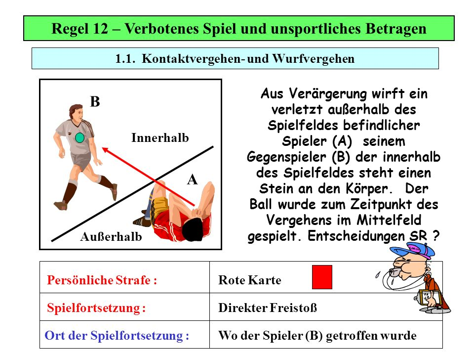Regel 12 – Verbotenes Spiel und unsportliches Betragen B A