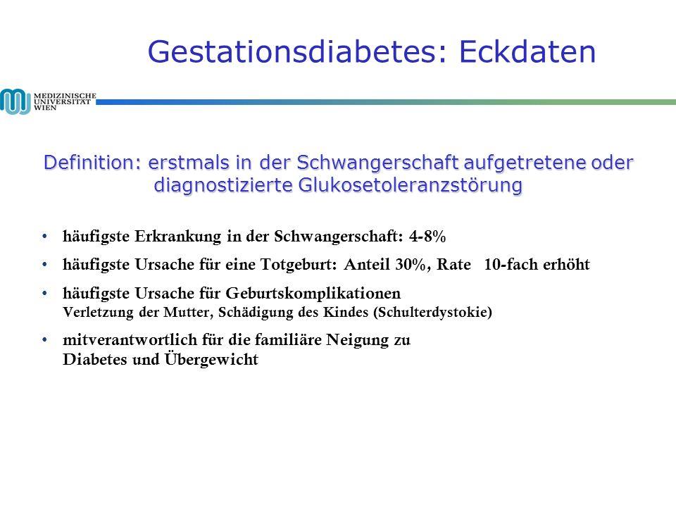 Gestationsdiabetes: Eckdaten Definition: erstmals in der Schwangerschaft aufgetretene oder diagnostizierte Glukosetoleranzstörung