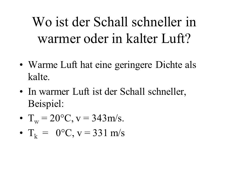 Wo ist der Schall schneller in warmer oder in kalter Luft