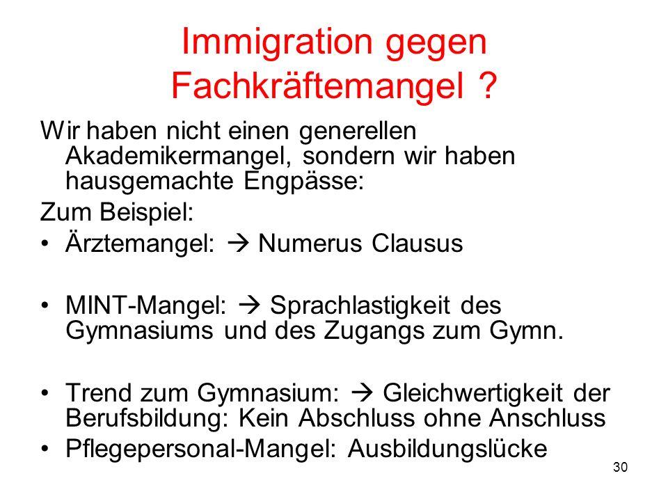 Immigration gegen Fachkräftemangel