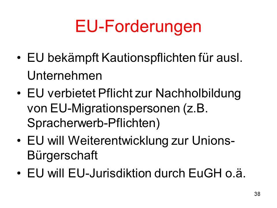 EU-Forderungen EU bekämpft Kautionspflichten für ausl. Unternehmen
