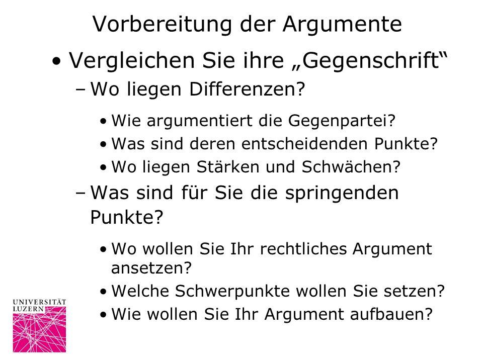 Vorbereitung der Argumente