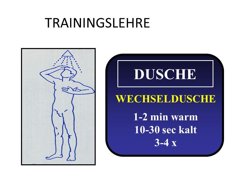 TRAININGSLEHRE DUSCHE WECHSELDUSCHE 1-2 min warm 10-30 sec kalt 3-4 x