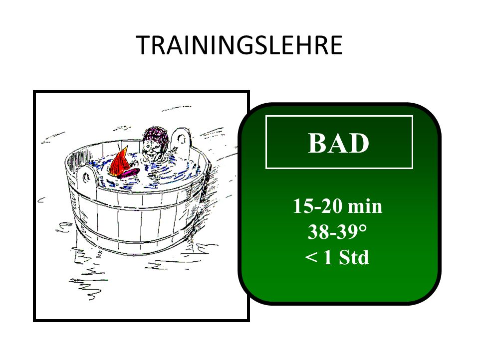 TRAININGSLEHRE BAD min 38-39° < 1 Std